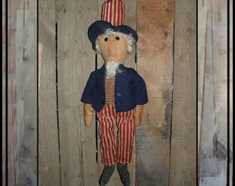 SALE mailed paper pattern simple Primitive folk art Uncle Sam needle stitched nose rag doll HAFAIR OFG faap 129