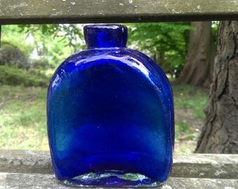 COBALT Blue Glass ase/bottle vintage made in Mexico