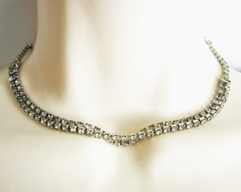 Vintage bridal silver and rhinestone necklace/ choker (J4)