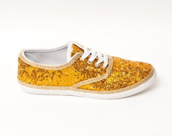 Tiny Sequin | Starlight CVO Brilliant Yellow Gold Canvas Sneakers Tennis Shoes