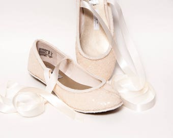 Sequin - Ivory Off White Ballet Flats Slippers Shoes With Matching Ribbons
