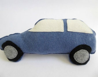 Car Soft Toy - Car Plushie - Boys Birthday Gift - Gender Reveal - Eco Friendly Toy - Boys Room Decor - Nursery Decor - Blue Car Toy.