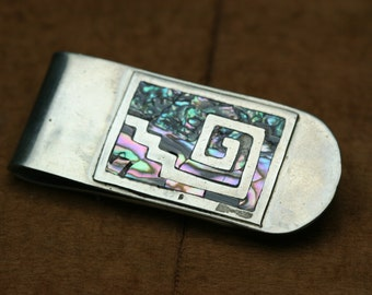 Vintage Silver Tone Metal with Shell Inlay Money Clip