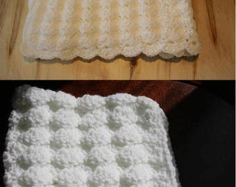 Crochet White Puff Shell Stitch, Handmade Newborn Baby Blanket, Pixie hat/ Photography Props Blanket, Car seat tent canopy/ Ready to ship
