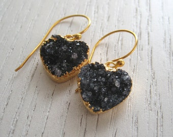Lovely Black Druzy Agate Heart Shaped Earrings Finished 24K Gold Edged