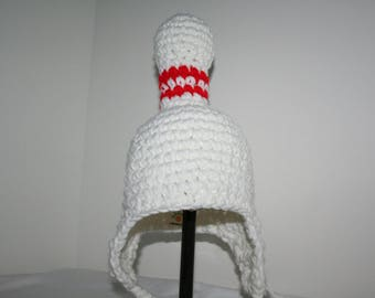 Bowling pin hat for baby - gift for bowler or bowling fan crocheted fun and unique
