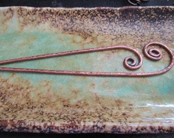 Fiddlehead Hair Sticks, Copper Swirls, hammered copper, hair pins, long hair, woman, hair accessories, fairy, bun maker