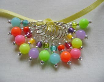 Neon Bright Stitch Markers for Knitting or Crochet