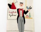 Vintage Applique Towel Lipstick Eyebrow Cloths Hand Embroidered Gentlemen's Valet MWT Mint with Tag NOS New Old Stock Fingertip Guest Towel