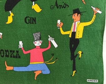 Vintage Bar Towel Alcoholic Drinks International Dancers Kreier Swiss Charmoz Style