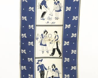 Vintage Kitchen Towel Housewife Couple Housewarming Gift Polka Dot Apron Bows