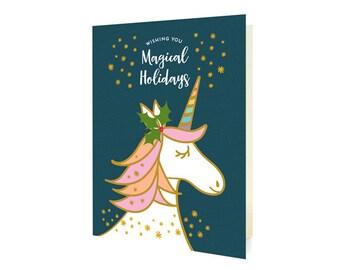 Magical Unicorn Folded Holiday Cards, Box of 10 - Christmas Cards - Wishing You Magical Holidays - OC1185-BLU-BX