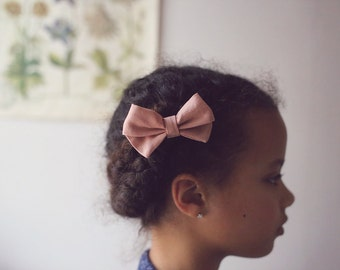 Linen Bow, Pink Bow, Pink Linen Bow, Girls Hair Bow, Purple Hair Bow, Natural Baby Bow, Linen Baby Bow, Bow clip, Baby Bow Headband