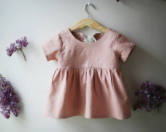 Short Sleeve Linen Tunic, Blouse, Pink Top, Toddler Shirt, Girls Linen Tunic, Baby Girl Top, Linen Baby Clothes, Linen Girls Clothes