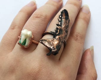 CLEARANCE SALE Copper mink jawbone ring