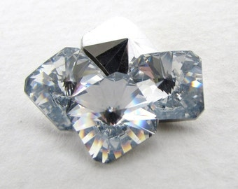 Vintage Swarovski Crystal Rhinestone Clear Square Octagon Faceted Rivoli Glass Jewel 8mm swa0779 (4)
