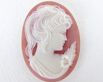 Vintage Reproduction Cameo Cabochon Coral White Lady Flowers Woman Profile Matte 40x30mm pcb0366 (1)