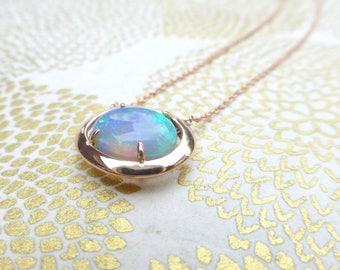 Unique double sided Australian Opal pendant.  14k rose gold Australian Opal necklace.