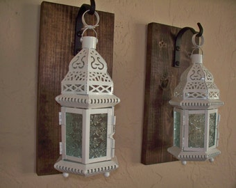 White Moroccan lanterns wall decor (2), wall sconces, housewarming gift, bathroom decor, wrought iron hook, rustic wood boards