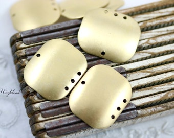 Raw Brass Dapped Rectangle 4-Hole Chandelier Connector Stampings Jewelry Findings - 4
