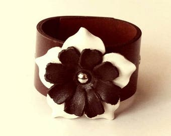 Flower Bracelet Leather Flower Cuff Flower Bangle Flower Leather Cuff Brown Color