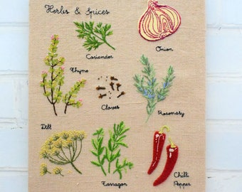 Herbs & Spices Wall Chart hand embroidery pattern instant download pdf
