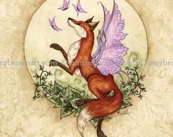 5x7 Flight of Fancy Fox fairy PRINT by Amy Brown