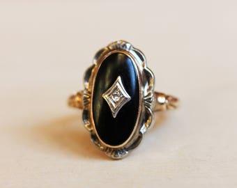 Diamond Onyx Ring, Diamond Marquis Ring, Gold Marquis Ring, Black Onyx Ring, Diamond Ring, Gold Diamond Ring, Gold Ring, Size 6 Ring