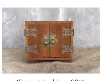 Jewelry Box - Wooden Jewelry Box - Jewelry Holder - Wood Jewelry Box -Keepsake Box - Asian Decor - Asian Cabinet - Vintage Jewelry Box