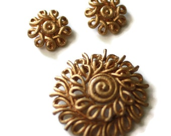 Gold Tone Swirl Brooch and Earrings Set Coro Signed Vintage