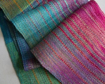 """Handwoven,  Hand-dyed Silk Twill Scarf - Coral, Turquoise & Gold  63""""x7.5"""""""