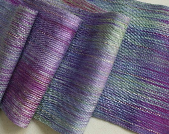 "Handwoven,  Hand-dyed Silk Scarf - Nepeta Sparkle 64""x 5.37"""