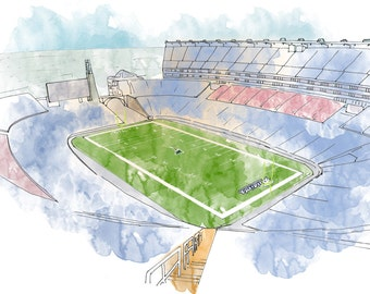 Gillette Stadium Ink and Watercolor Drawing