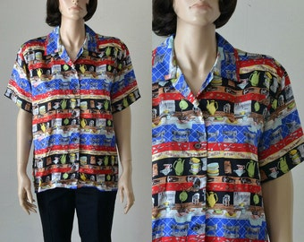 Nicole Miller Silk Blouse  Limited Edition  Novelty Print  Coffee Bar Shirt  Oversized - Small