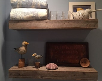 floating shelves Set of Two 30x8x3 Reclaimed Wood Bathroom Shelving - Rustic Decor