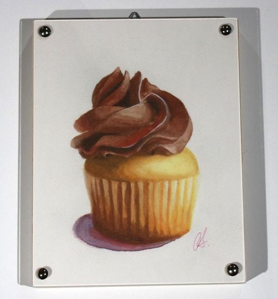 Cupcake Print of watercolor painting, Chocolate Mini Framed