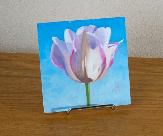Glory original Tulip oil painting Flower with blue sky
