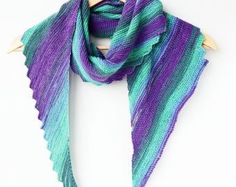 Hand knitted asymmetric shawl - multicolor triangular shawl - knitted shawlette - cotton triangular shawl - green purple