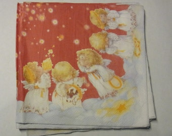 Decoupage Napkins,  vintage paper napkins, angels, cherubs, christmas