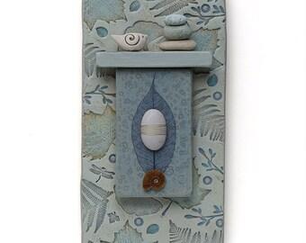 Mixed Media Wall Art,ceramic assemblage Home Decor,bird,leaves, beach stones, Wall Art ,Nature Inspired