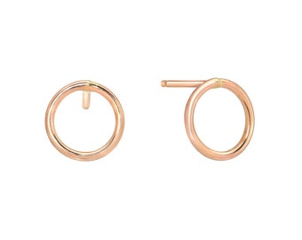 Circle Studs Plain Gold, 14K Post Earring, Yellow Gold, White Gold, Rose Gold, Small Post Earring.