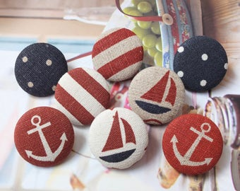 Nautical Marine Ocean Red Sailing Boat Sailboat Anchor Dots Stripe Collection, Choose Color  - Fabric Covered Buttons (1.1 Inches, 4PCS)