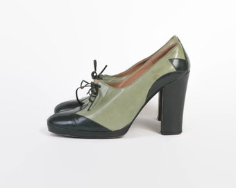 Vintage 70s OXFORDS / 1970s Two-Tone Green Leather Disco Boho High Heels 6