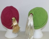 HALF PRICE SALE Ponytail Beanie Hats knitting pattern by madmonkeyknits instant digital file pdf download