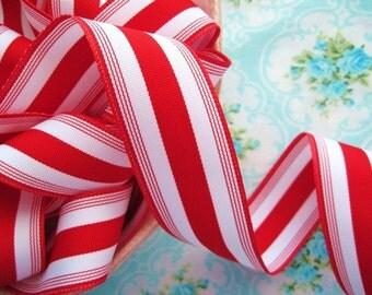Striped Grosgrain Ribbon -  Candy Cane - 1 1/2 inch - 2 Yards
