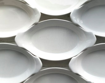Seven Vintage Bakers . White China Baking Dishes . California Pottery . Oven Proof . Dining Entertaining . Mid Century Dinnerware .