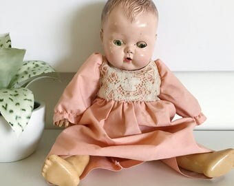 Vintage Tiny Tears American Character Doll, Molded Hair, Soft Body, Moveable, Sleepy Eyes