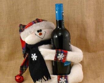 Fabric Snowman Wine Bottle Holder Hostess Gift