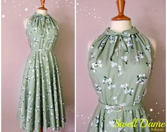 1950's dress halter peter pan collar circle skirt floral dress