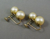 Vintage Stacked Faux Pearl Screwback Earrings
